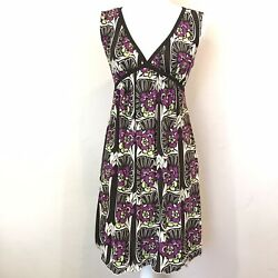 Womens Sophie Max Brown Purple Green Floral Sleeveless V-neck Mini Dress Size Xs