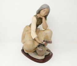 Mint Lladro Gres Classic Water Carrier 3525 Girl With Jug And Flower Wooden Base