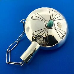 Native American 925 Sterling Silver Turquoise Hand Stamped Tobacco Flask Canteen