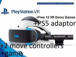 Sony Playstation 4 5 Vr Headset Psvr +ps5 Camera Adaptor +2 Move Controller+game