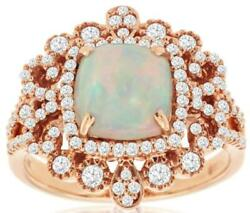 Large 2.0ct Diamond And Aaa Opal 14kt Rose Gold Cushion And Round Square Flower Ring
