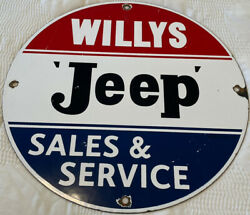 Vintage Jeep Sales And Service Porcelain Sign Willyand039s War Gas Oil Pump Plate Rare