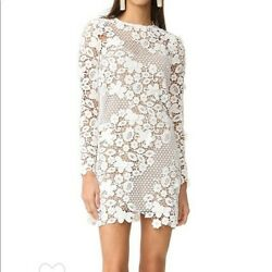 Self-portrait 3d Floral-lace Mini Dress White Us Size 4 / Small, New With Tags