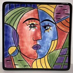 Hand Painted Muzeum Picasso Style Red Blue Face Porcelain Wall Tile 6.25