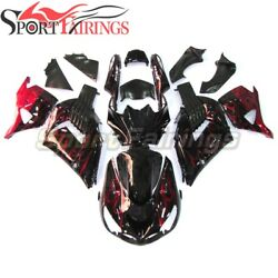 Motorcycle Abs Fairings For Kawasaki Zx14r 2006 07 - 2011 Black With Red Flames