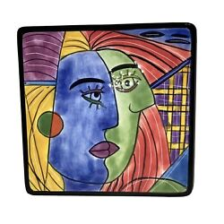 Hand Painted Muzeum Picasso Style Blue Green Face Porcelain Wall Tile Trivet