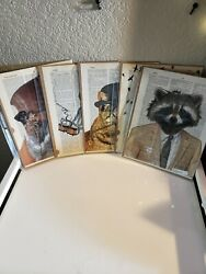 Dictionary Wall Art Print Book Page Cat Lot Of 5 Dressed Animals Biker