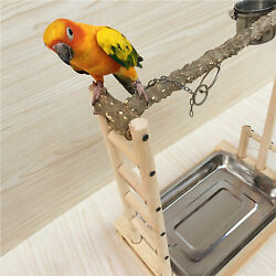 Wood Bird Parrot Stand Game Playing Cage Perch Tree+stainless Steel Plateandcups