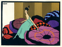1930s French Pochoir Print Art Deco Lafugie Young Woman In Bedroom