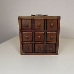 Antique Wooden 9 Glass Bottle Drawer Chest Pine Spice Cabinet Apothecary Vintage