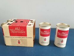 Vtg Old Milwaukee Beer 12oz 1962 Flat Top Cans And 6 Pack Holder Rare