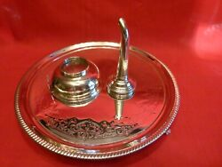 Rare Hester Bateman Georgian 1775 Solid Silver Wine Funnel And Decanter Tray.