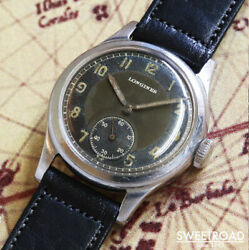 1940s Antique Longines Analog Watch Manual Cal.10.68z Black Mirror 31mm Dial