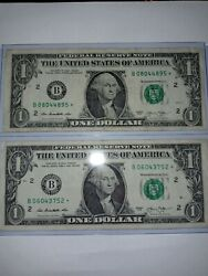 Star Notes 1 Dollar 2013 B .rare Error.duplacate Numbers.see Pictures