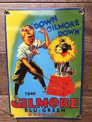 Vintage Gilmore Gasoline Porcelain Sign Gas And Oil Sign 12andrdquo X 8andrdquo Gas Station Sign