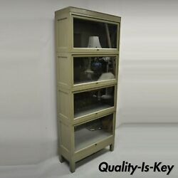 Globe Wernicke Oak Wood Panel Side Green 4 Section Stacking Barrister Bookcase