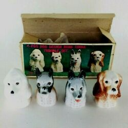 Vintage Porcelain Dog Thimbles In Original Box - Sewing Accessory - Collectible
