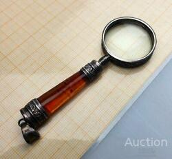 Antique Vintage Gift Magnifying Pendant Glass Handmade Amber Sterling Silver