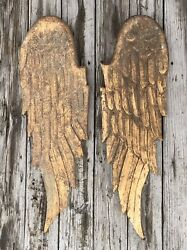 """Salvaged Pair Of 39"""" Large Wood Angel Wings Shabby Chic Or Christmas Decor"""