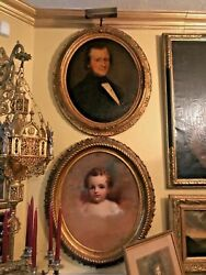 Two Gorgeous Antique Oil Painting Portraits , Child Could Be A Thomas Sully.