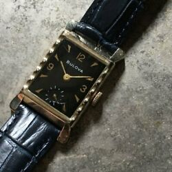 1950s Antique Bulova Small Seconds Manual 10kyg Gold Plated Black Mirror Dial