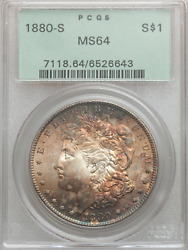 1880-s Morgan Dollar Pcgs Ms64 Nice Cheek Awesome Iridescent Tone Old Holder