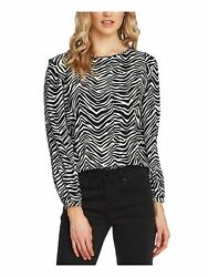 VINCE CAMUTO Womens Black Animal Print Long Sleeve Blouse Size: XS