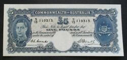 Australia Banknote 1949 5 Pounds R 47 Unc Coombs/watt S/13 119313, One Of A Pair
