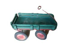 Vintage Wood Real Pull Wagon Cart 32 X 18 X 17 Wood Deck And Rails Green