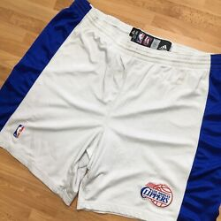 Adidas Nba Authentic La Clippers Lac Player Pro Basketball Shorts Sz 48 White