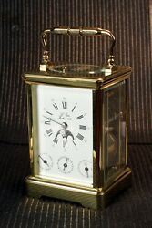 Vintage L'epee French 8 Day Alarm, Date, Moon Phase, Repeating Carriage Clock