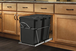 Double 35 Quart Sliding Pull-out Waste Containers Garbage Trash Recycling Bins