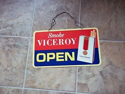 Vintage Viceroy Cigarettes Open - Closed Store Or Bar Sign Tobacco Advertising