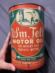 Vintage Original Wm. Tell Rare 5 Quart Motor Oil Graphic Can Canfield Oil Co