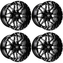 Pure Grit Off-road Pg102 Drive 22x12 6-135 6-5.5 -44 Gloss Black Milled Rims Set