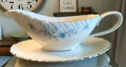 Vintage Lenox Chanson Gravy Boat With Underplate White/blue Discontinued Mint