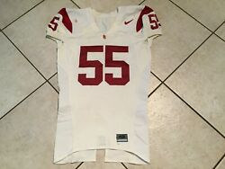 Keith Rivers 55 Usc Nike Authentic Game Issued And Worn White Jersey Size 46