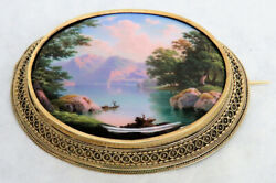 Beatiful 1830and039s 18k Gold Frame Lake Brienz Geneve Painting Porcelain Brooch
