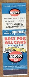 Vintage Matchbook Amoco Permalube Motor Oil Goldsworthy's Country Store Drums Pa