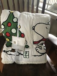 New Pottery Barn Teen Peanuts Christmas Holiday Quilt Full Queen Snoopy Pbteen