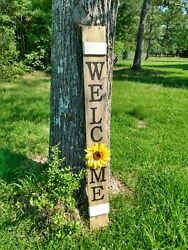 Large Wood Door Sign Welcome Porch Sunflower Farmhouse 48 Tall 4 Ft