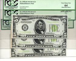 1934 5 Federal Reserve Notes 3 Consecutive Serial 's W/lime Green Seal - Pcgs
