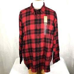 The Foundry Supply Flannel Adult Men#x27;s Button Down Shirt 4XLT Red Black Plaid