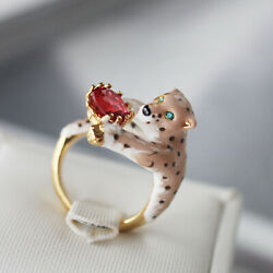 Ring Open Adjustable Chevaliere Red Panthere Leopard Enamel Pink Eyes Green L3