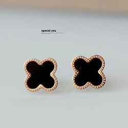 Rings` Ears Nails Studs Lucky Golden Stainless Steel Black 0 9/16in Trb1