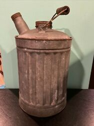 Vintage Antique Gallon Galvanized Gas Oil Kerosene Can With Wood Handle And Lids