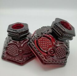 Candlestick Candle Holders Ruby Red Pair Set VTG Pressed Glass Octagonal AVON
