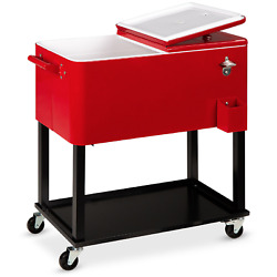 Best Choice Products 80qt Steel Rolling Cooler Cart W/ Bottle Opener Catch Tray