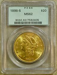 1898-s Pcgs Ms62 20 Liberty Gold Double Eagle - Old Green Holder
