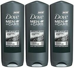 3x Dove Men Care Elements Charcoal Clay Micro Moisture Body And Face Wash
